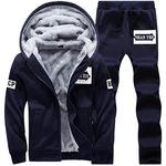 冬季男士运动加绒套装 卫衣棉袄 加厚带帽服饰 一件代发 厂家直销
