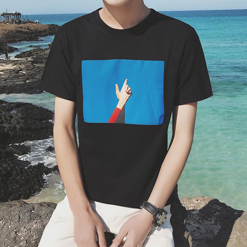 港风夏装新款男士圆领短袖T恤男韩版潮流半袖学生个性百搭上衣服