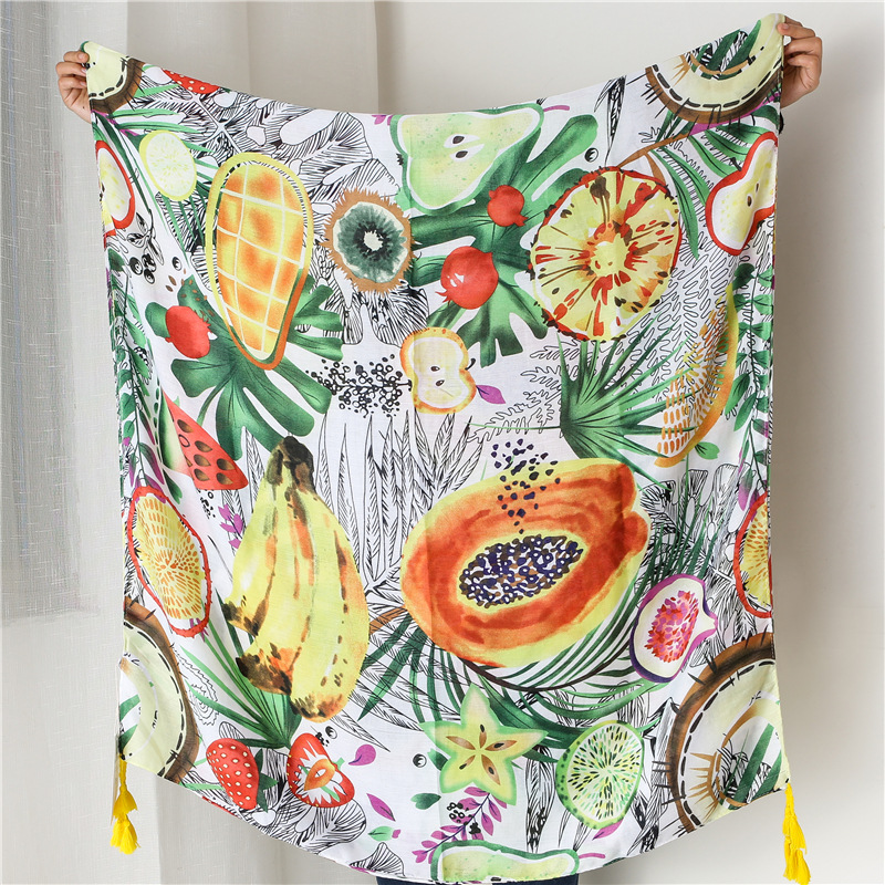 Korean version of the scarf female summer cotton linen feel silk scarf a lot of fruit pattern tulle towel travel beach towel sunscreen shawl NHGD177944