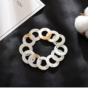 Shell factory direct sale, high-quality shell polished discs, fashionable double-hole single-hole necklace spacer