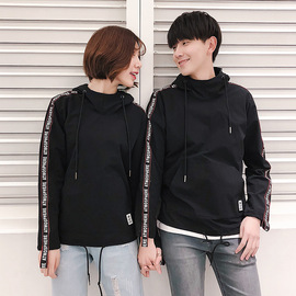 Spring new couple wear webbing hooded sweater fashion slim youth tunic sweater coat