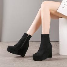 坡跟秋冬2018新款女士鞋子超高跟厚底防水臺磨砂彈力短靴一件代發