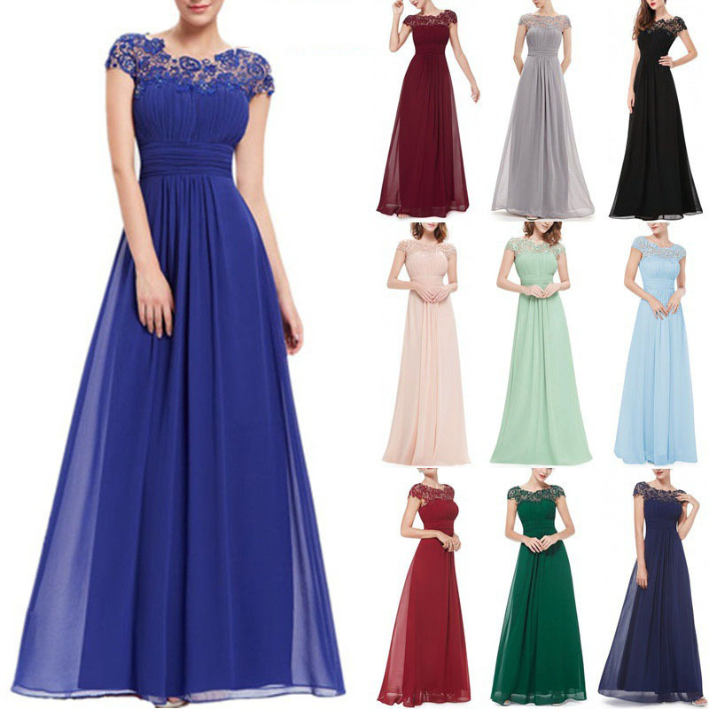 2020 summer new European and American foreign trade women's wear fast sell Amazon Lace Dress Bridesmaid Evening Dress NEW