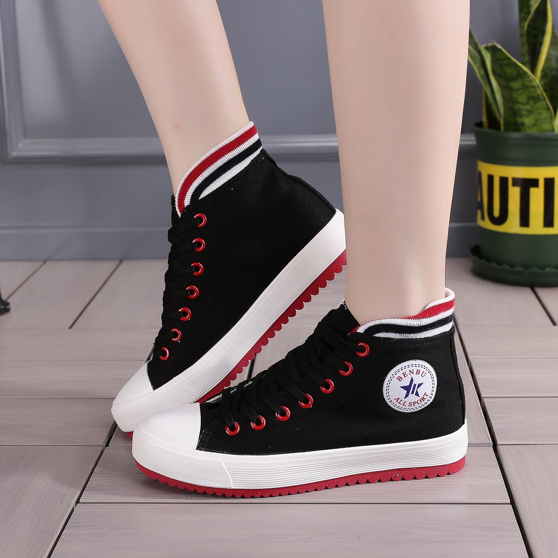 新韩版休闲鞋彩条高帮帆布鞋薄底运动板鞋纯色女布鞋