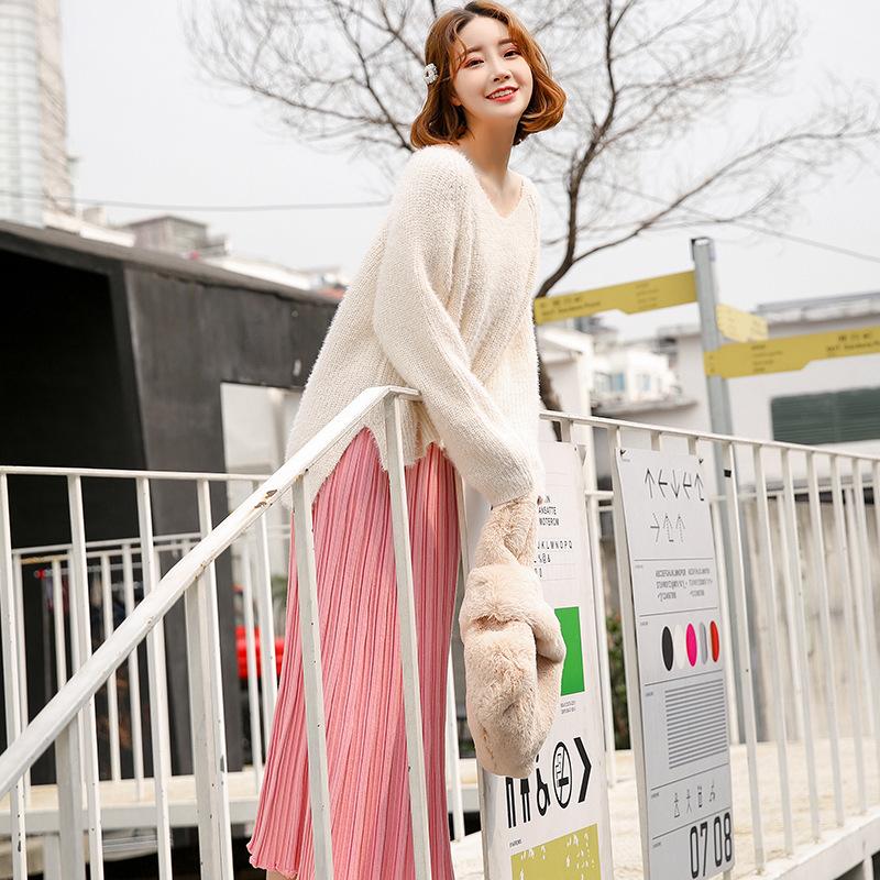 雪白毛绒针织衫女 宽松套装毛衣 秋冬毛衣纯色棉长袖外套一件代发