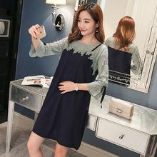 2018孕妇装春夏季韩版显瘦遮肚子蕾丝拼接中长款孕妇连衣裙哺乳衣