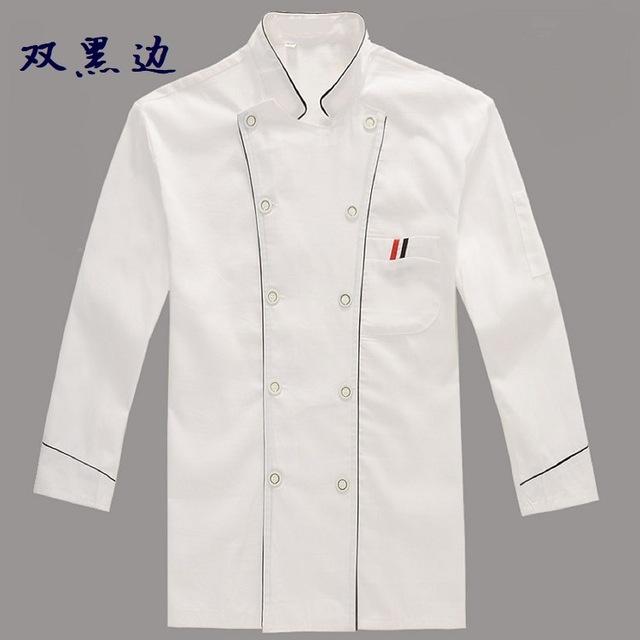 2020新款厂家批发酒店厨师服长袖厨房工作服白色工装制服一件代发