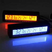 多功能LED車載電子時鐘 內外雙溫度報警顯示器電壓計 雙色轉換