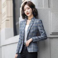 Блейзер женский 2020 новый осенний тонкий деловой костюм в клетку корейский модный якорь OL маленький костюм