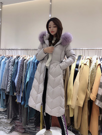 Winter new big fur collar long down jacket female large size was thin over the knee hooded thick coat