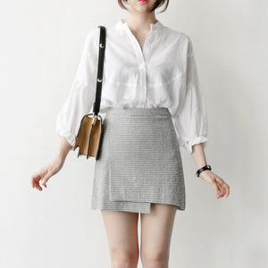 អាវនារី korean Women Small Stan Up Collar Professional Whiter And Casual Lantern Sleeved Shirt PZ446433