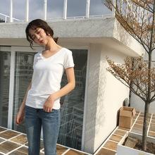[隨流]2018新款韓范休閑百搭純色純棉短袖t恤女寬松上衣女短款220