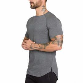 外贸纯色空白款健身男士长款透气运动T恤潮男修身夏季健美短袖男