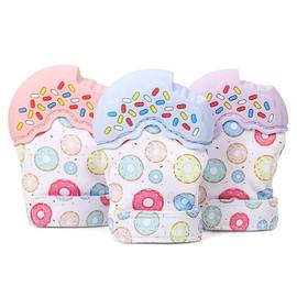Hot multi-color donut bite music educational toy baby silicone molar stick baby teether gloves