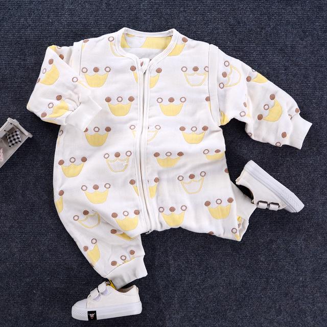 Nhà máy bán buôn sáu lớp trẻ em bé bông gạc túi ngủ cao trào ôm được chia thành chân quần áo một mảnh chống đá Túi ngủ