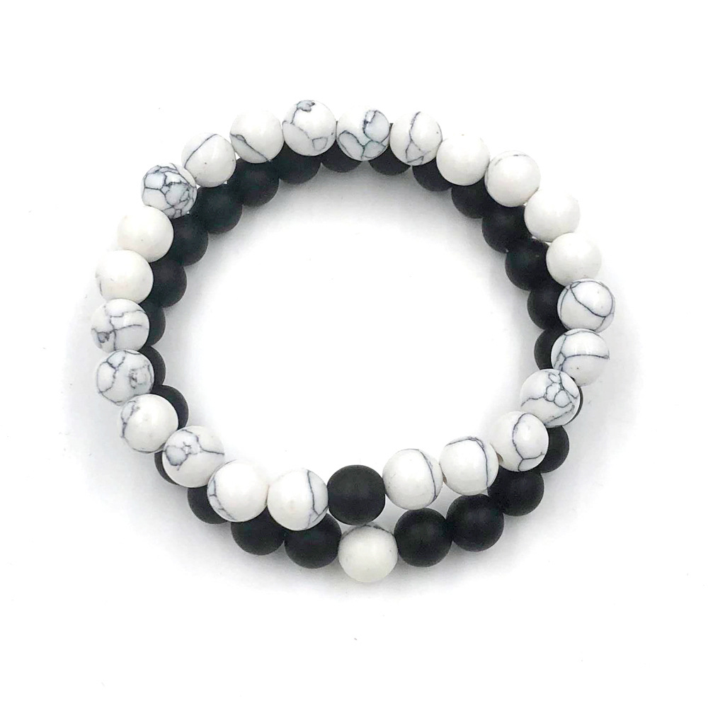 Fashion Exaggerated Natural Energy White Turquoise Frosted Stone Set Bracelet Wholesale NHZU198277