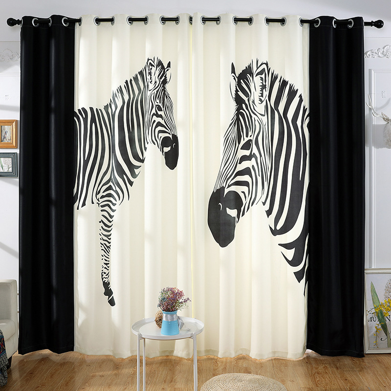 Keqiao Factory Direct Digital Printing Zebra Curtains Cartoon Children S Room Living Room Bedroom Can Be Customized Zoppah Com Zoppah Online