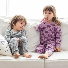 欧美卡通儿童居家服睡衣中小童纯棉内衣套装男童女童秋衣秋裤套装