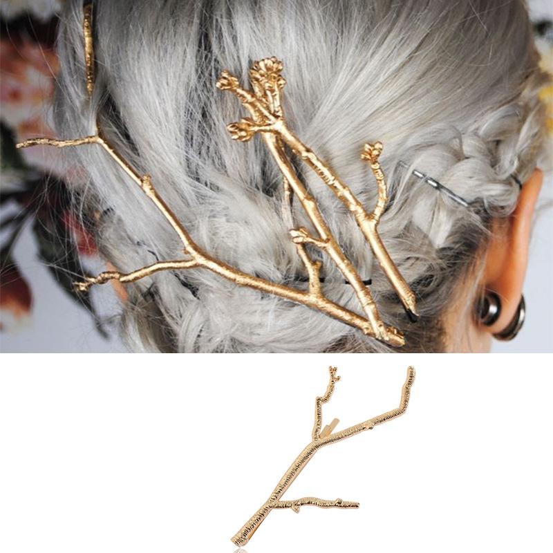 外贸热销头饰批发 欧美简约复古风合金发夹速卖通亚马逊树枝发饰