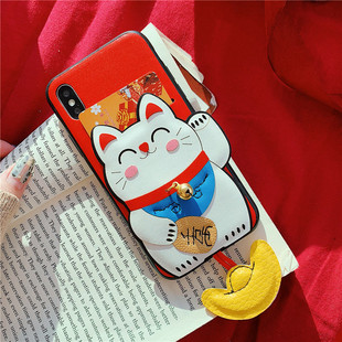 Ba chiều Lucky Cat Mobile Shell iphoneX Max Creative Card Leather Acrylic Apple Cover