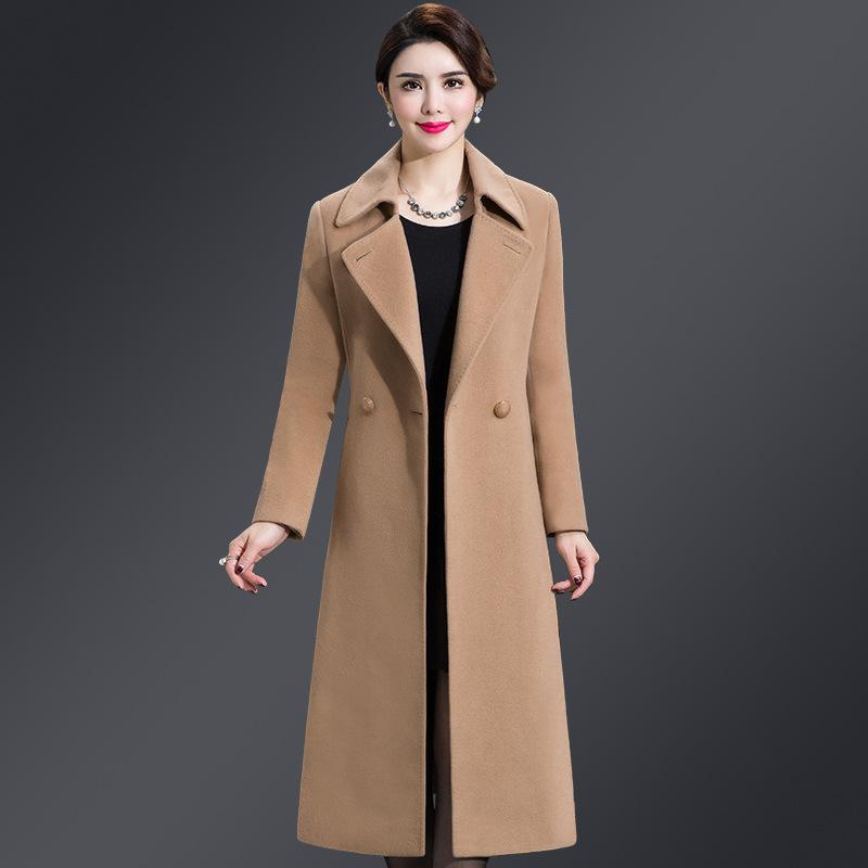 厂家直销中年女装羊毛大衣女2018秋冬装韩版新款中长款毛呢外套