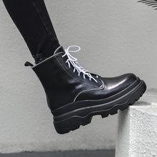 2018年冬季新款舒适保暖加绒真皮短靴女内增高坡跟防水台骑士靴子