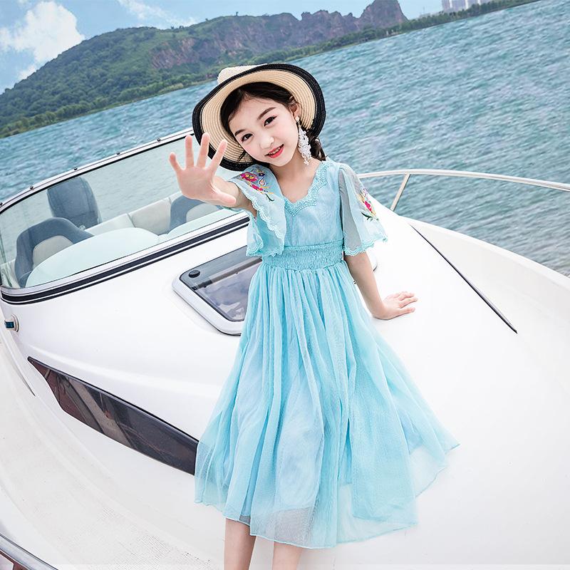 2018女童装夏装连衣裙中大童小女孩短袖纱裙儿童女装韩版公主裙子
