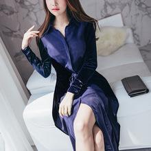 2018春季韩国披风撞色拼接假两件连衣裙系带修身前面开叉长裙蓝色