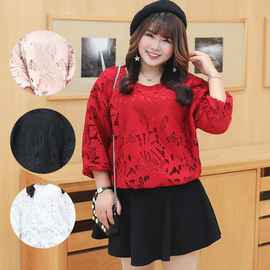 Spring new large size women's plus fertilizer to increase fat MM was thin lace hollow woven bandwidth loose top 2621