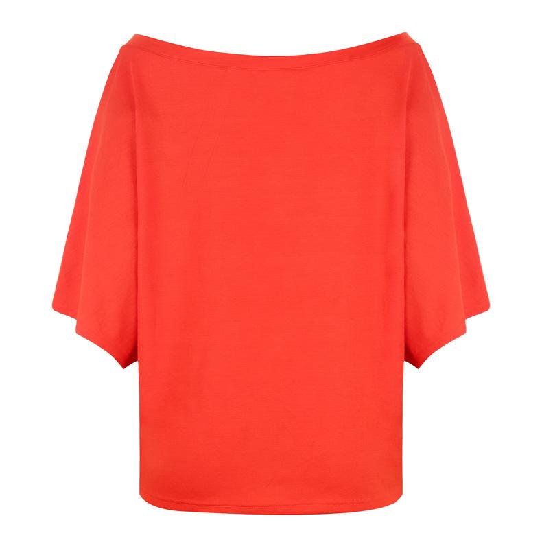 new loose one-shoulder bat shirt printed T-shirt NSKX6221
