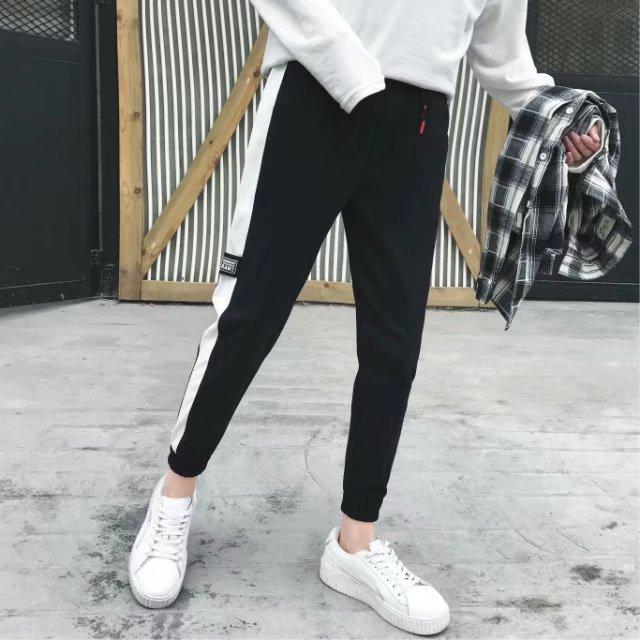 裤子韩版潮流哈伦裤青少年男生百搭黑色运动裤修身九分裤休闲卫裤