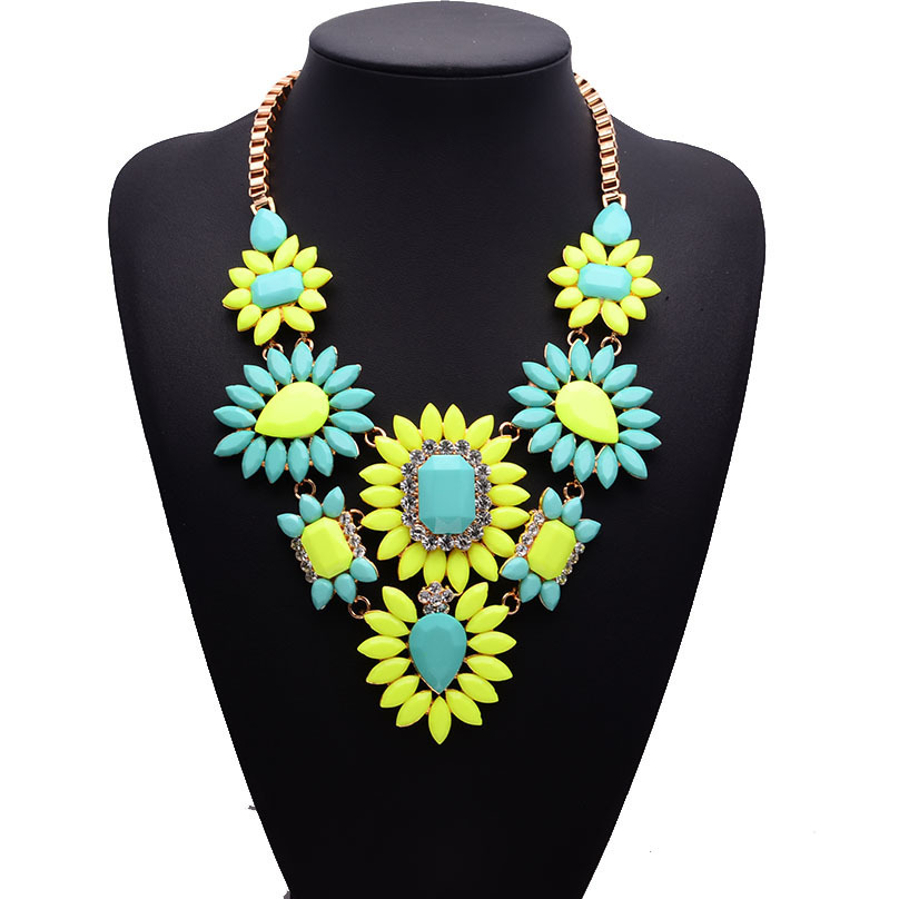 Alloy Bohemia Geometric necklace  (Color one) NHJQ10676-Color-one
