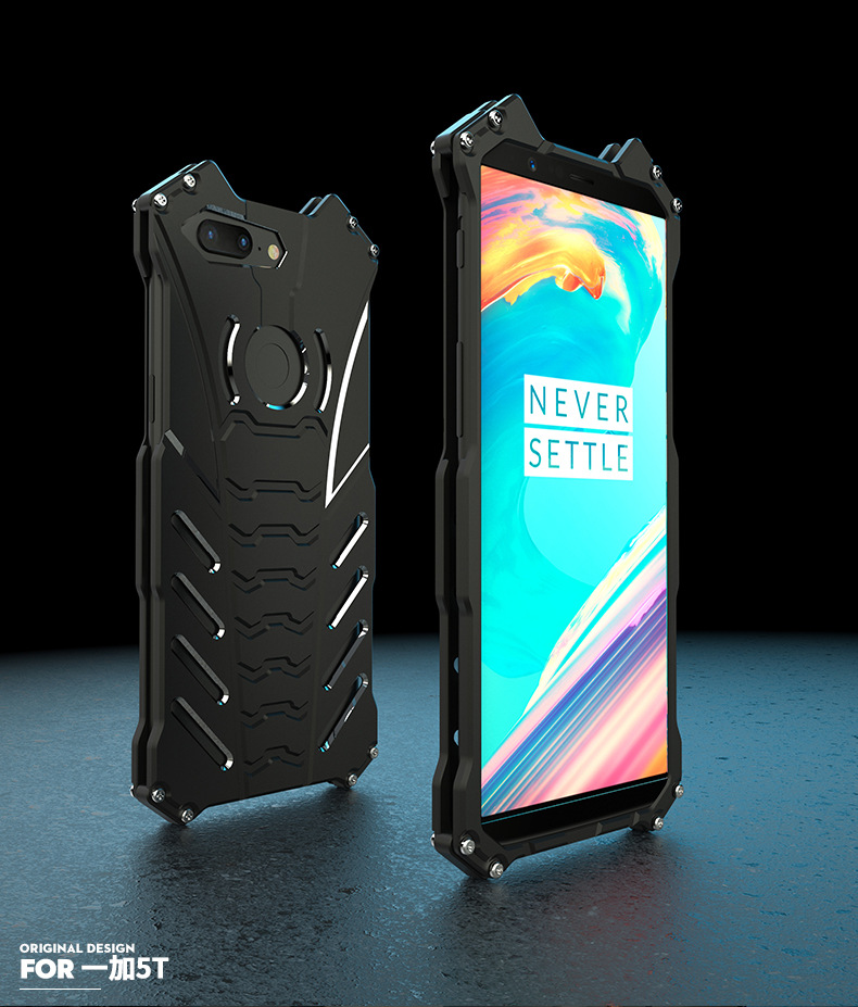 R-Just Batman Shockproof Aluminum Shell Metal Case with Custom Batarang Stent for OnePlus 5T