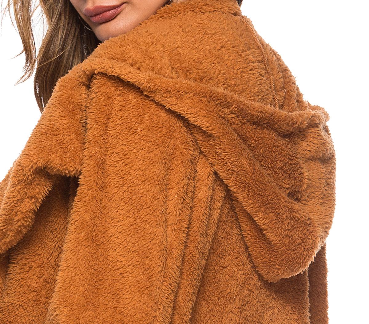 women's woolen long coat lapel hooded vertical pocket woolen cloth NSDF1314