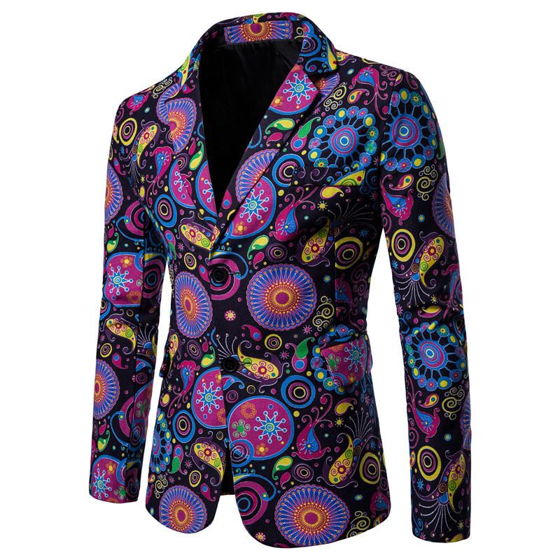 2020 New Amazon casual suit Decor print best man suit men's national style large suit coat