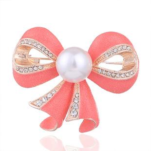 Retro alloy diamond-studded bow corsage, Korean fashion pearl brooch, temperament dripping silk scarf buckle wholesale