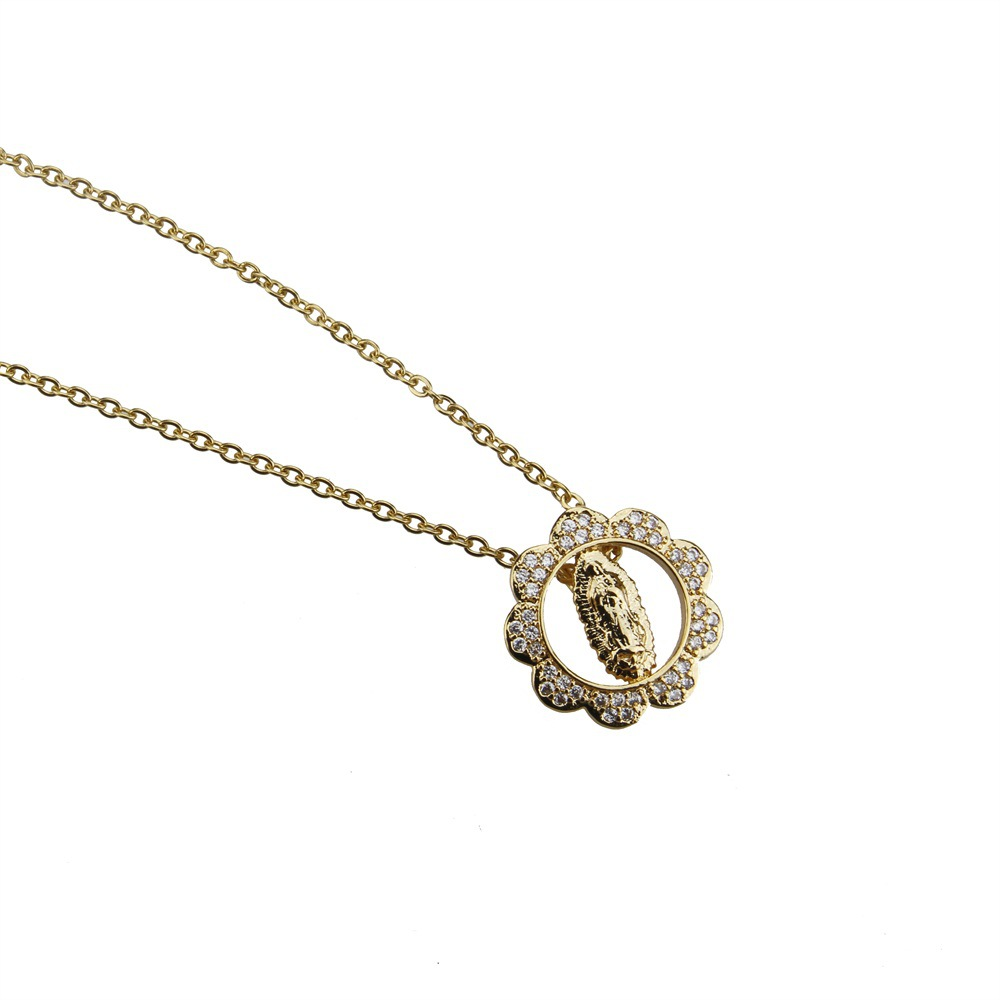 Copper Fashion Cross necklace  (Alloy-plated white zirconium) NHBP0285-Alloy-plated-white-zirconium