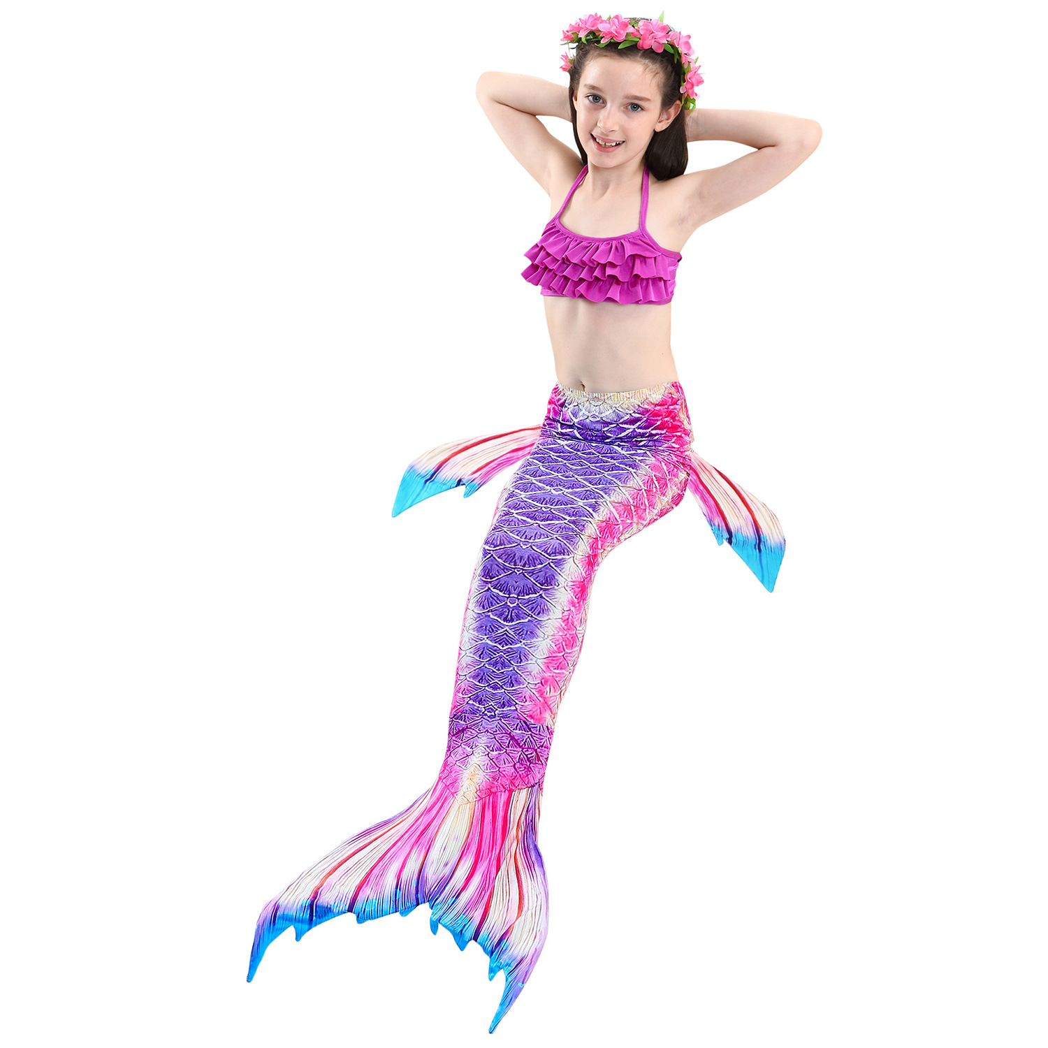 9282523442 898390851 - 4PCS/Set HOT Kids Girls Mermaid Tails with Fin Swimsuit Bikini Bathing Suit Dress for Girls With Flipper Monofin For Swim