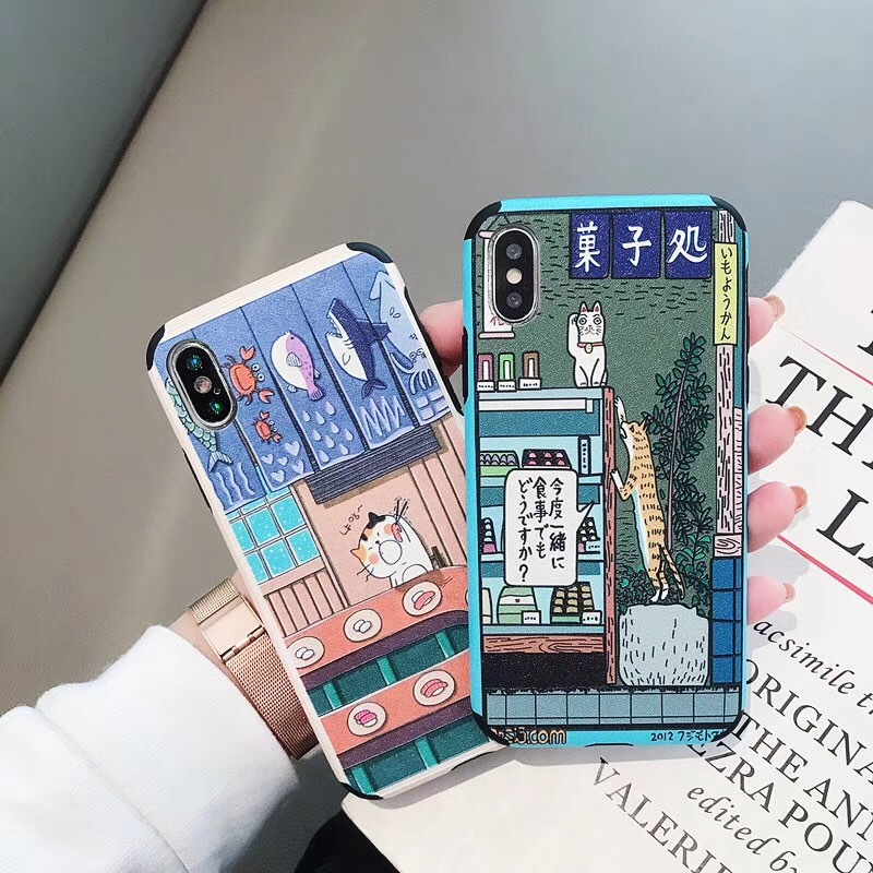 Cartoon leather cat for iphoneXS Max mobile phone shell creative apple case 8plus mobile phone case