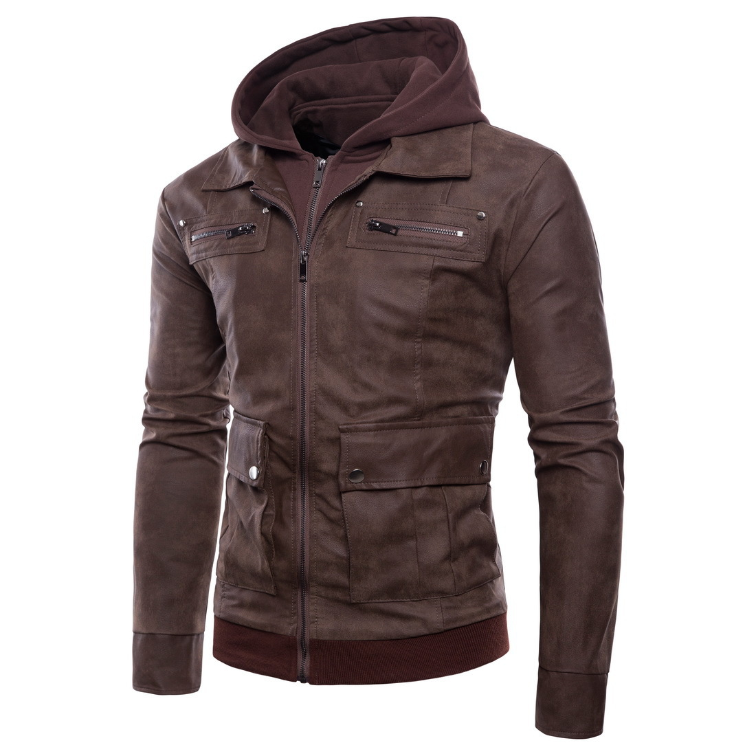 Sumitong men's autumn new style foreign trade hooded leather jacket fake two pieces of pure leather jacket jacket