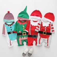 秋季欧美婴儿圣诞节服装哈衣 老人棉爬服帽子 连体衣长袖宝宝
