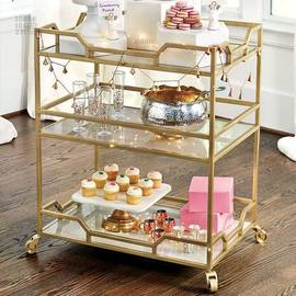 American Tieyi Metal Dining Car Wine Cup Frame Trolley Home Restaurant Hotel Side Cabinet Kitchen Mobile Receiving Frame