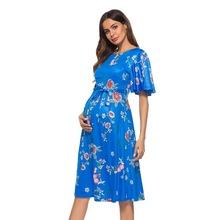 2018新款外贸热卖花朵短袖孕妇装连衣裙LQ63080 配本色腰带