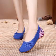 (浪) mẫu mùa xuân và mùa hè mới gân bò dày đáy thanh lịch tăng nữ đơn bộ giày thêu chân giày phong cách dân tộc Giày nữ