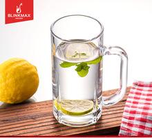 丽尊办公玻璃杯子水杯大号创意啤酒杯耐热带把杯茶杯无盖扎啤杯