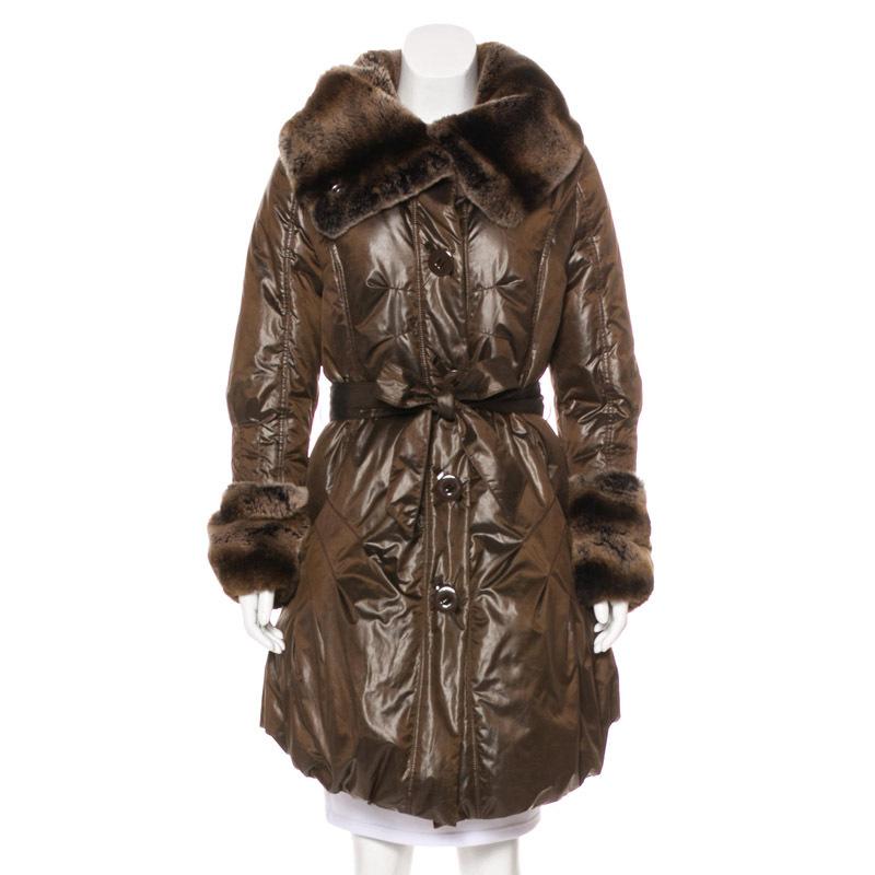 惊石皮草工厂定制 假皮PU皮衣女款腰带 仿獭兔毛领人造毛长款外套