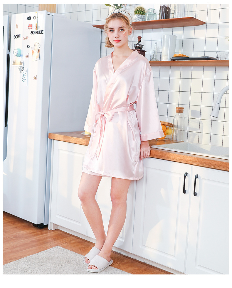 Silk Nightgown Wedding Makeup Gown Embroidery Bride Cardigan Gown Bride Bridesmaid Morning Gown wholesale nihaojewelry NHJO224095