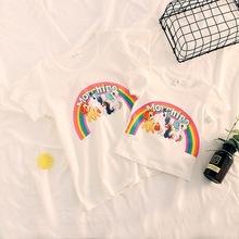亲子装男女童网红款全棉奥戴尔卡通彩虹小马独角兽短袖T恤母女装