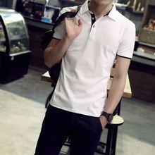 厂家直销2018夏季爆款短袖T恤男青年纯棉修身翻领POLO衫百搭男装