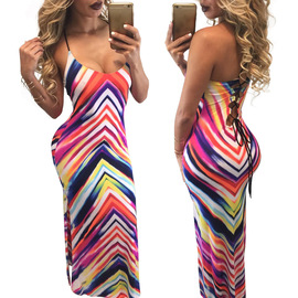Europe and America sexy nightclub women's deep V strapless straps long skirt strap color striped dress